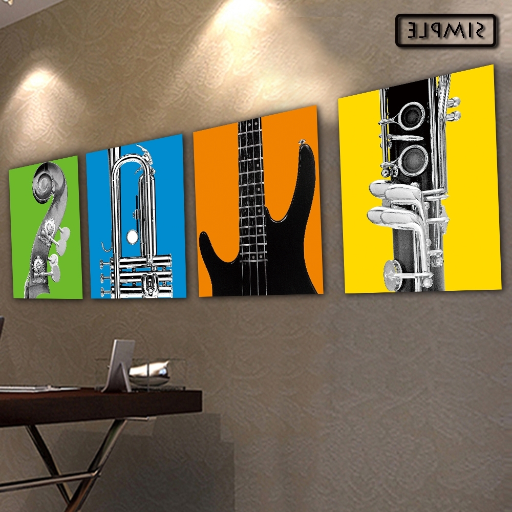 Musical Instrument Wall Art Within Most Current Oil Painting Canvas Musical Instruments Wall Art Decoration (View 5 of 15)
