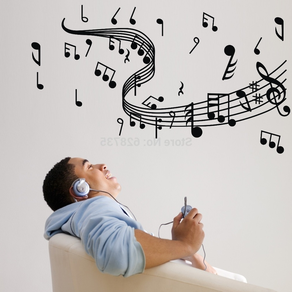 Musical Note Wall Decals Creative Vinyl Wall Art Sticker Decor Pertaining To Most Current Music Note Wall Art (View 8 of 15)