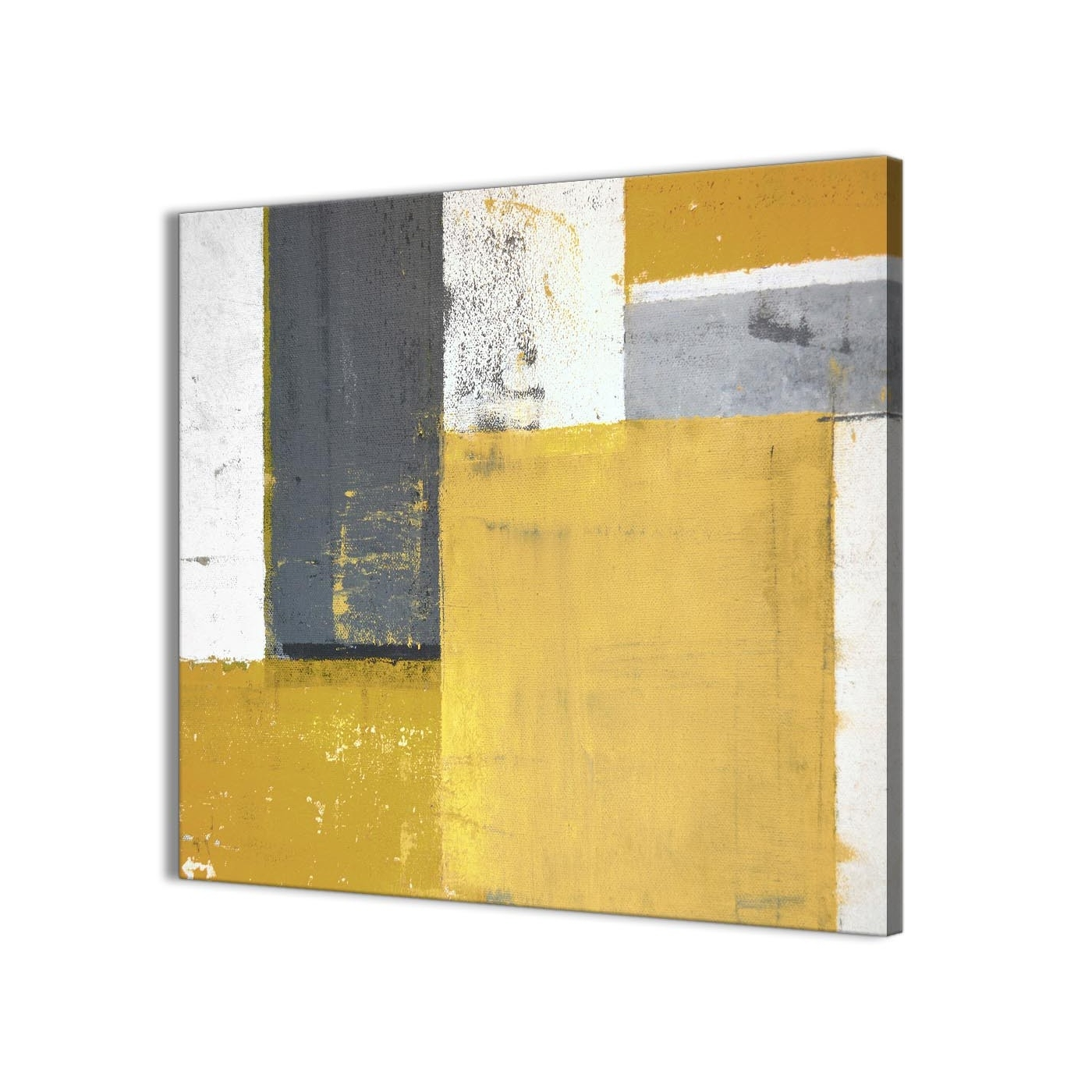 Mustard Yellow Grey Abstract Painting Canvas Wall Art Print Inside Widely Used Grey Abstract Canvas Wall Art (View 9 of 15)
