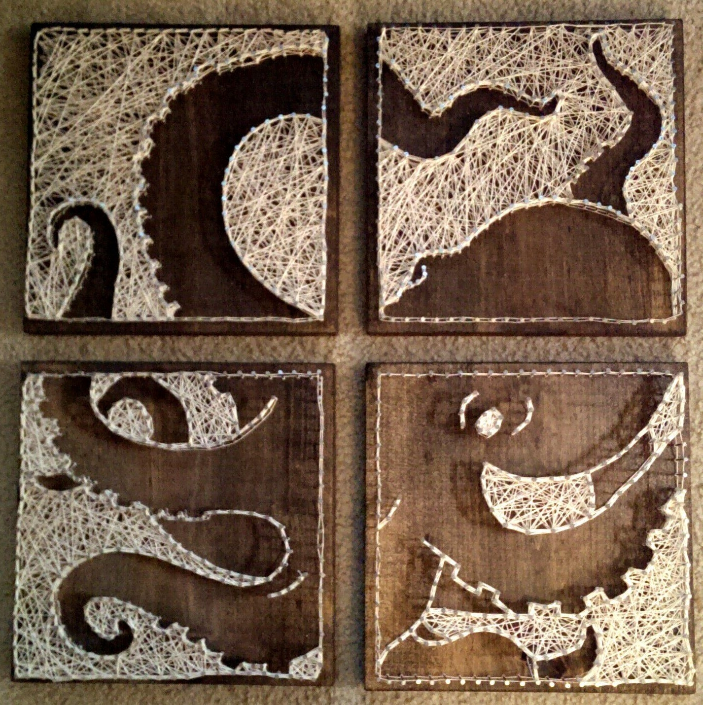 Nail And Yarn Wall Art With Regard To Preferred 4 Panel Octopus Nail And String Artbrokenwingarts On Etsy (Gallery 1 of 15)