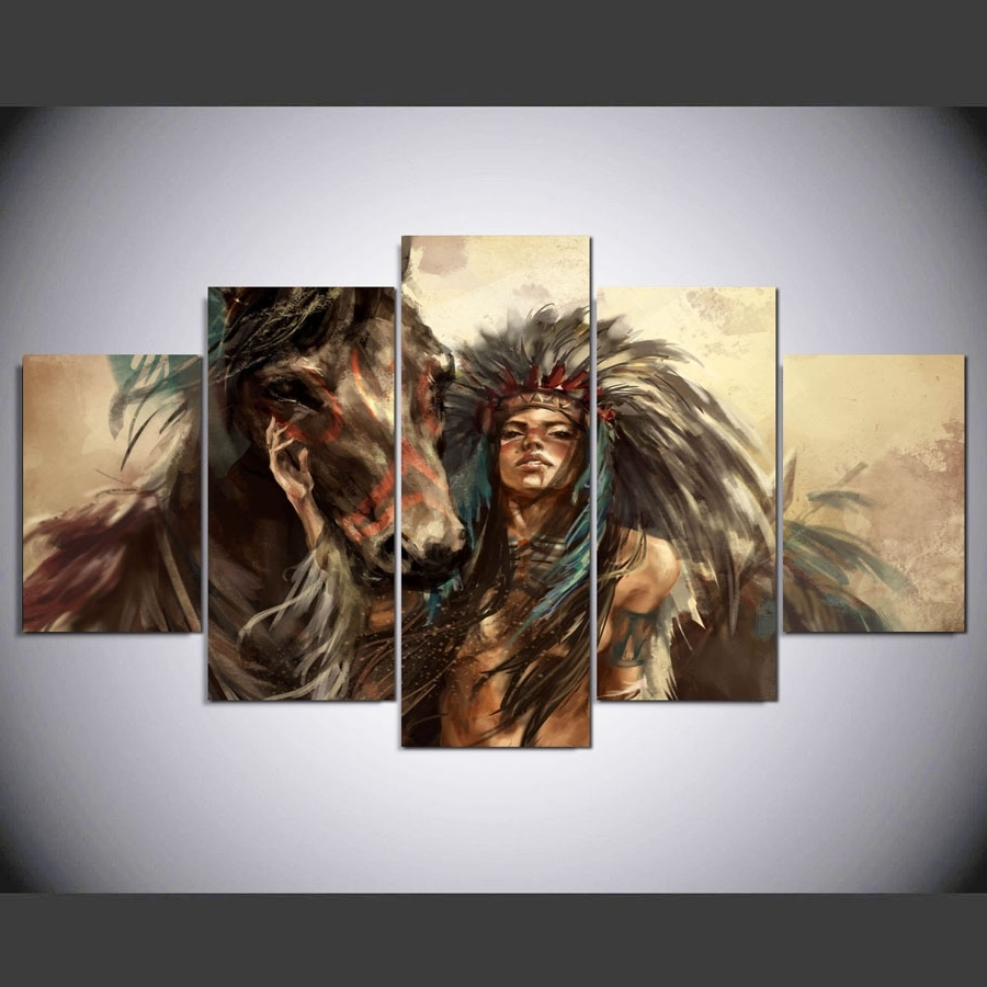 Native American Wall Art With Regard To Well Known 5 Panel Hd Native American Girl And Horse Art Print Canvas Art (View 10 of 15)