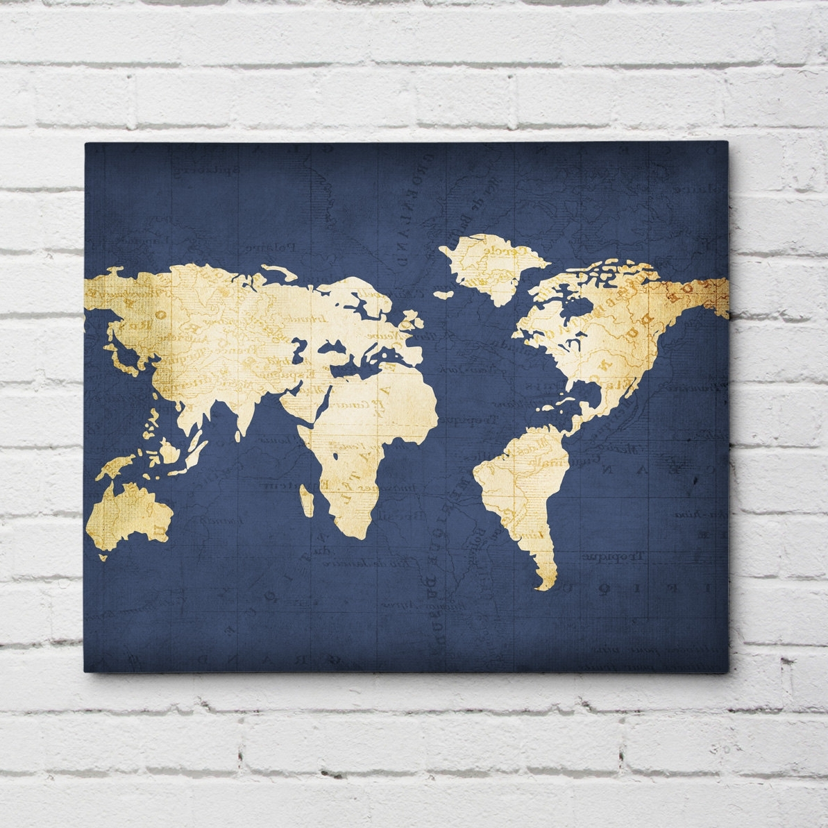 Navy Blue Wall Art Intended For Fashionable Navy Blue World Map (View 2 of 15)