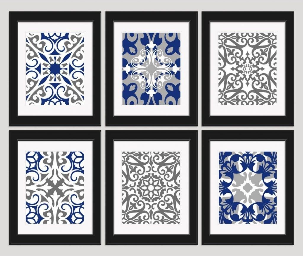 Navy Blue Wall Art Regarding Current Beautiful Looking Navy Blue Wall Art Bathroom Canvas Kitchen Small (View 7 of 15)