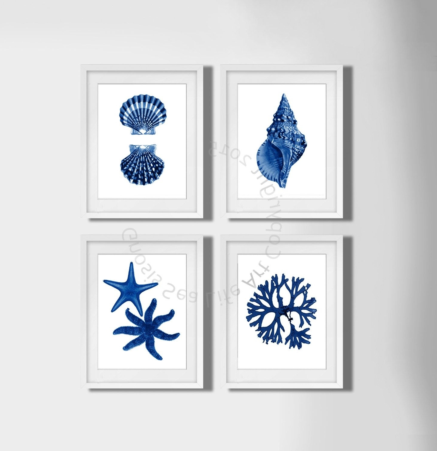 Navy Blue Wall Art Set Of 4 Beach Decor, Seashells, Seaweed And For Most Popular Navy Blue Wall Art (View 8 of 15)