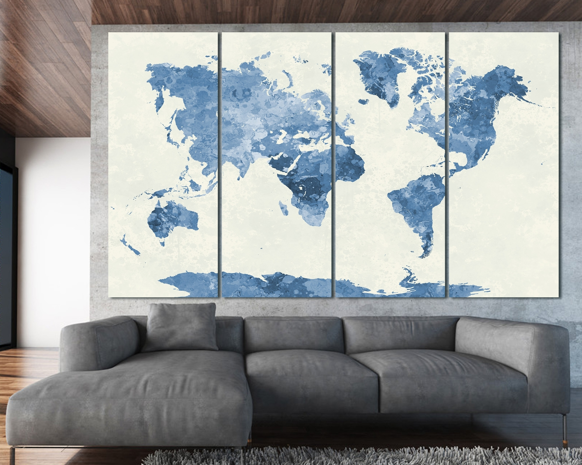 Navy Blue Watercolor World Map Print At Texelprintart Within Most Current Navy Blue Wall Art (View 8 of 15)