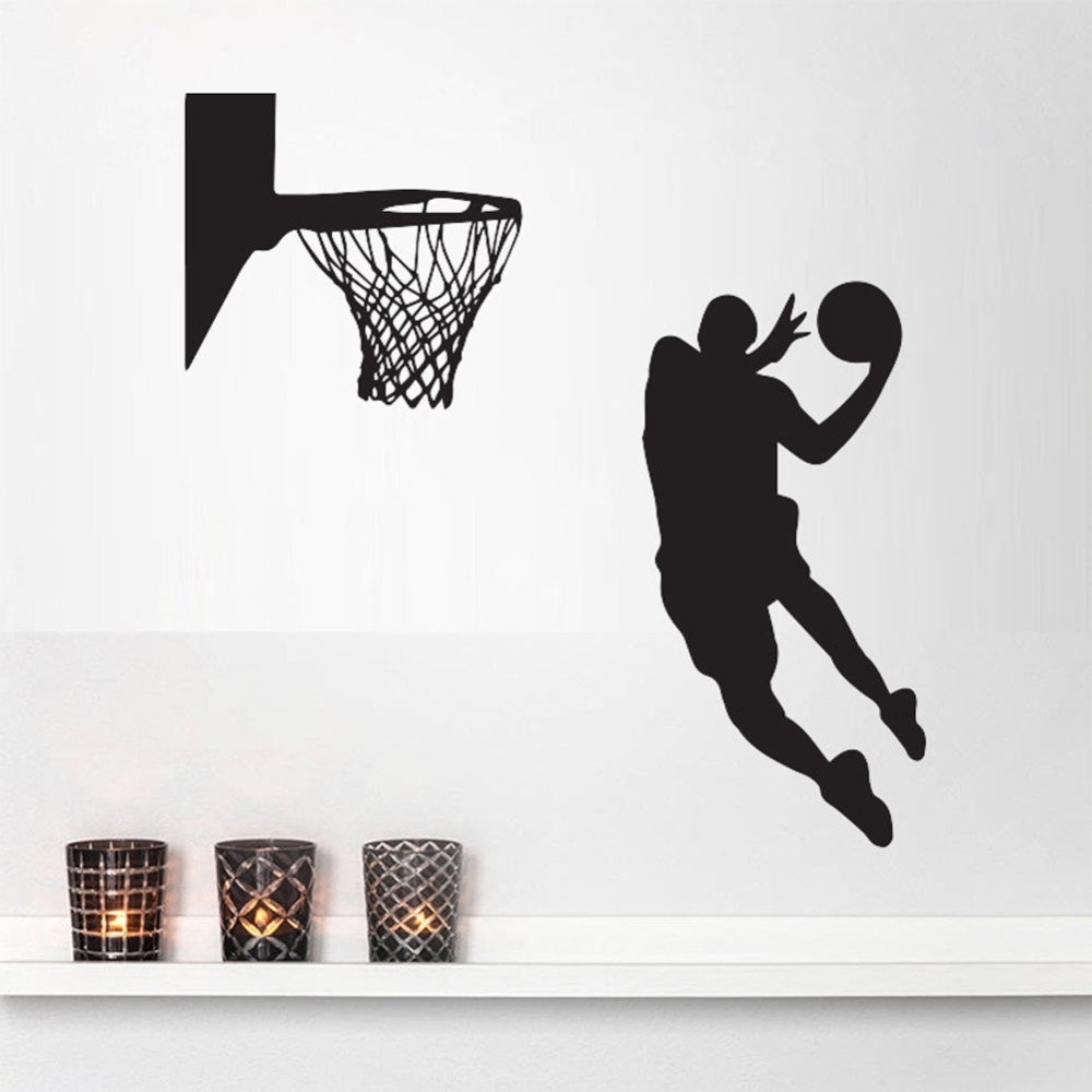 Nba Wall Murals With Regard To Trendy Acting Cool Wall Decal Nba Slam Dunk Basketball Wall Mural (View 10 of 15)