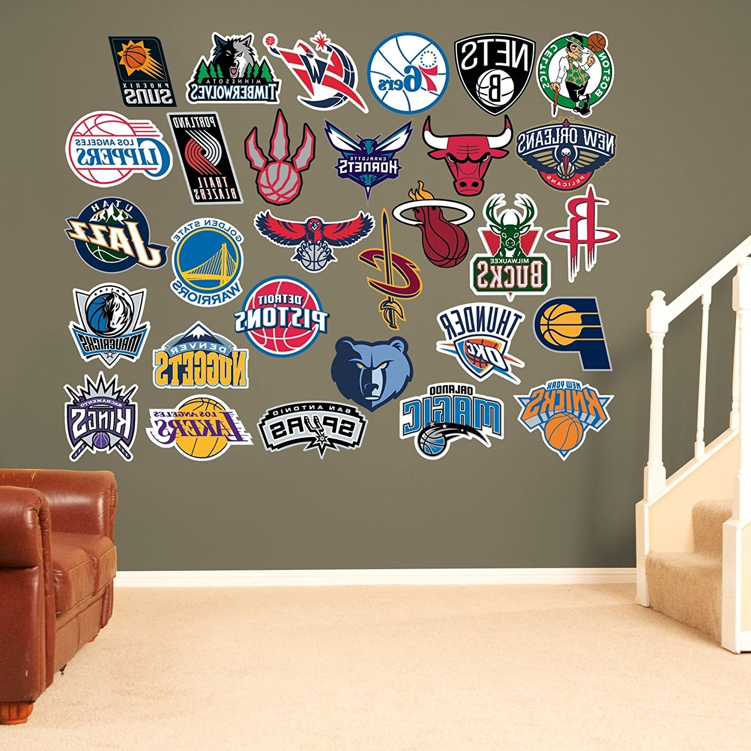Nba Wall Murals Within 2018 Amazon : Nba All Teams Logos Collection Of All 30 Team Logos (View 11 of 15)