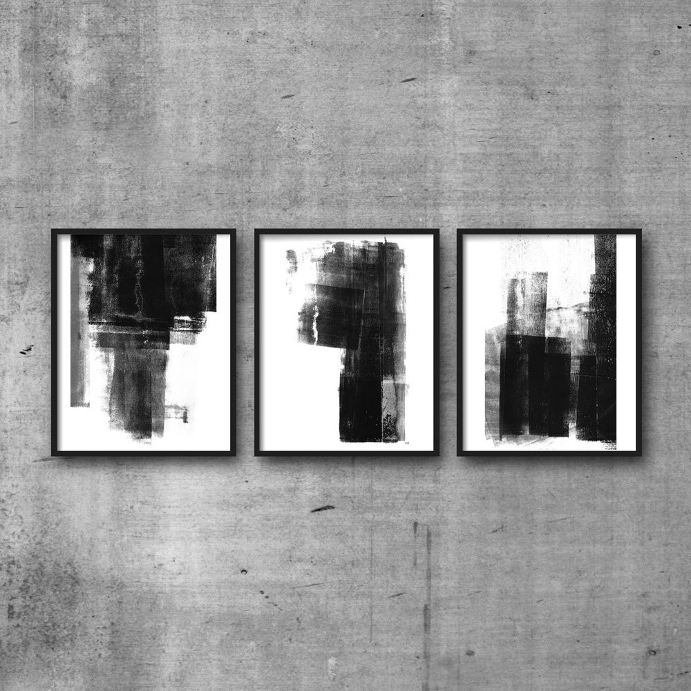 Neutral Abstract Wall Art Regarding Fashionable Triptych, Scandinavian Art, Abstract Print Set, Abstract Art (View 7 of 15)