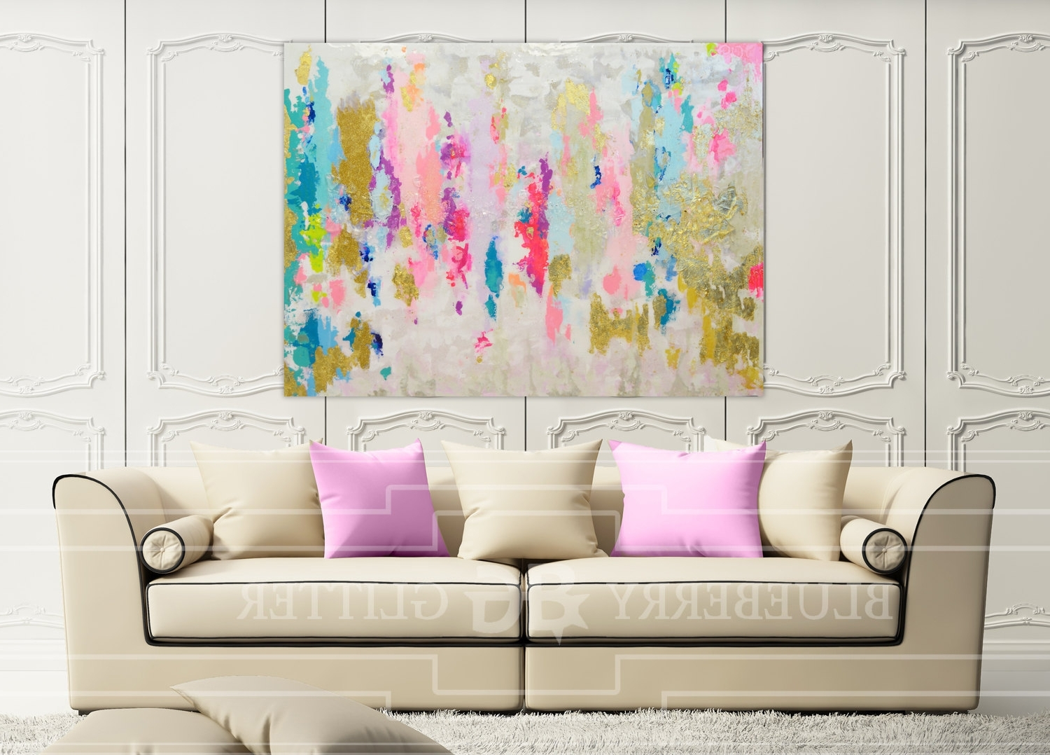 Neutral Abstract Wall Art With Most Current Sold!! Acrylic Abstract Art Large Canvas Painting Gray, Pink (View 4 of 15)
