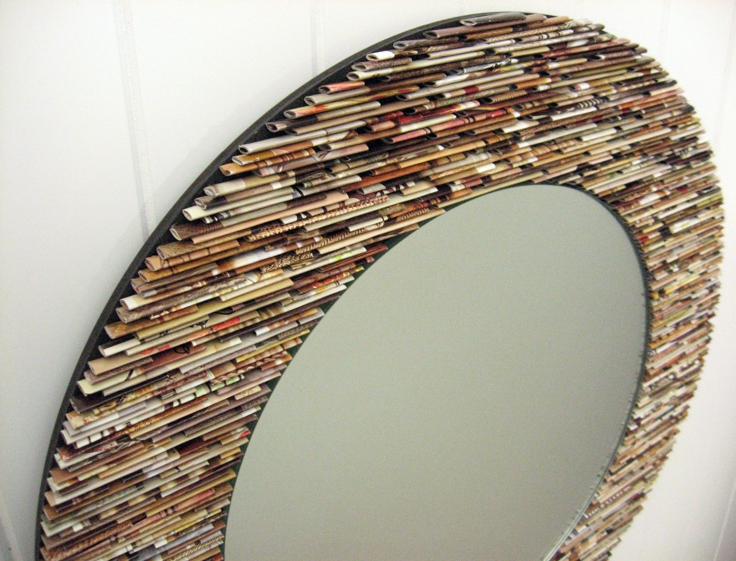 Neutral Round Mirror, Wall Art  Made From Recycled Magazines With Most Recently Released Recycled Wall Art (View 10 of 15)
