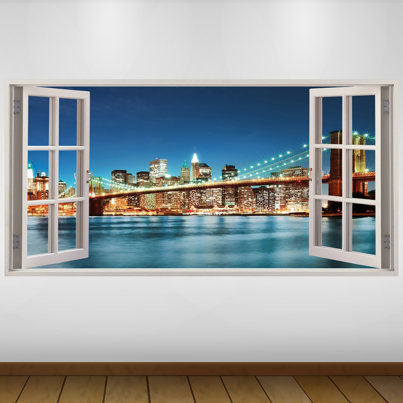 New York 3D Wall Art In Widely Used Extra Large New York Brooklyn Bridge City 3D Vinyl Wall Art Decal (View 6 of 15)