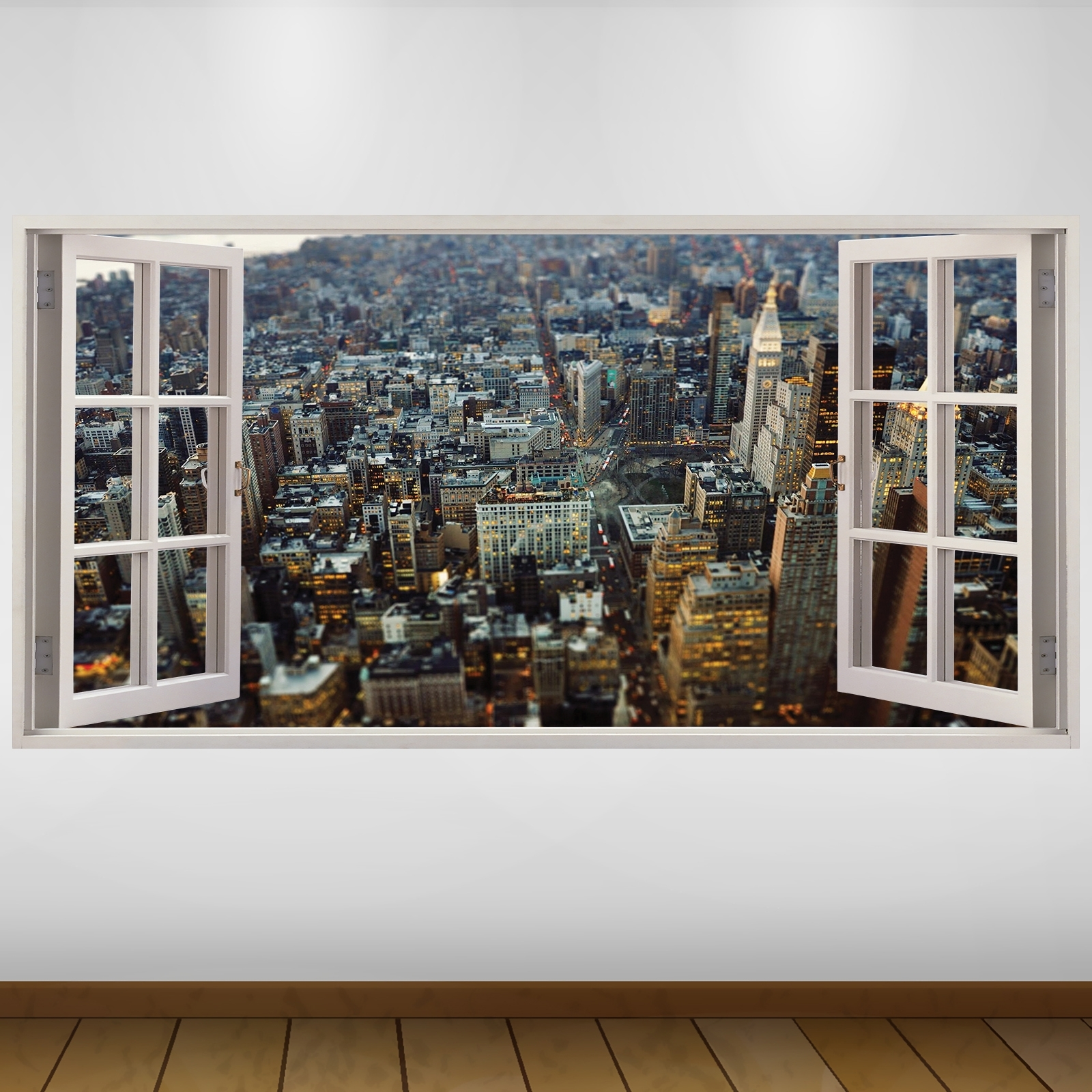 New York 3D Wall Art Regarding Most Recent Extra Large Aerial View City New York 3D Vinyl Wall Art Decal (View 9 of 15)