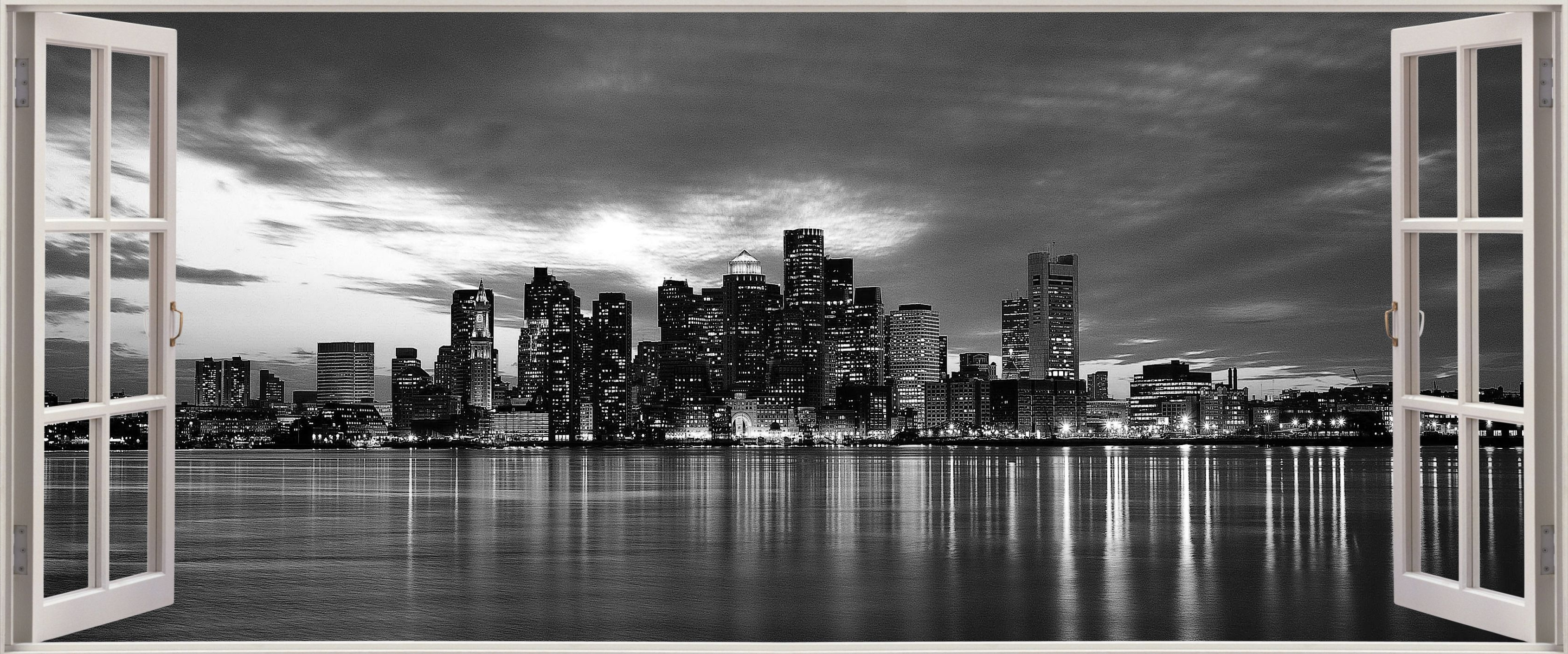 New York 3D Wall Art Throughout Trendy Huge 3D Panoramic New York City Black White Window View Wall (View 10 of 15)