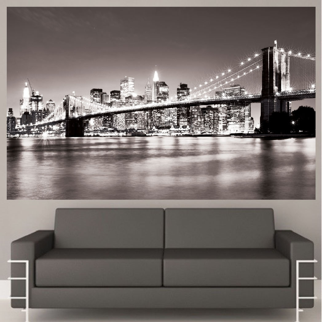 New York Brooklyn Bridge Canvas Wall Art Black And White New Inside Recent Black And White New York Canvas Wall Art (View 13 of 15)