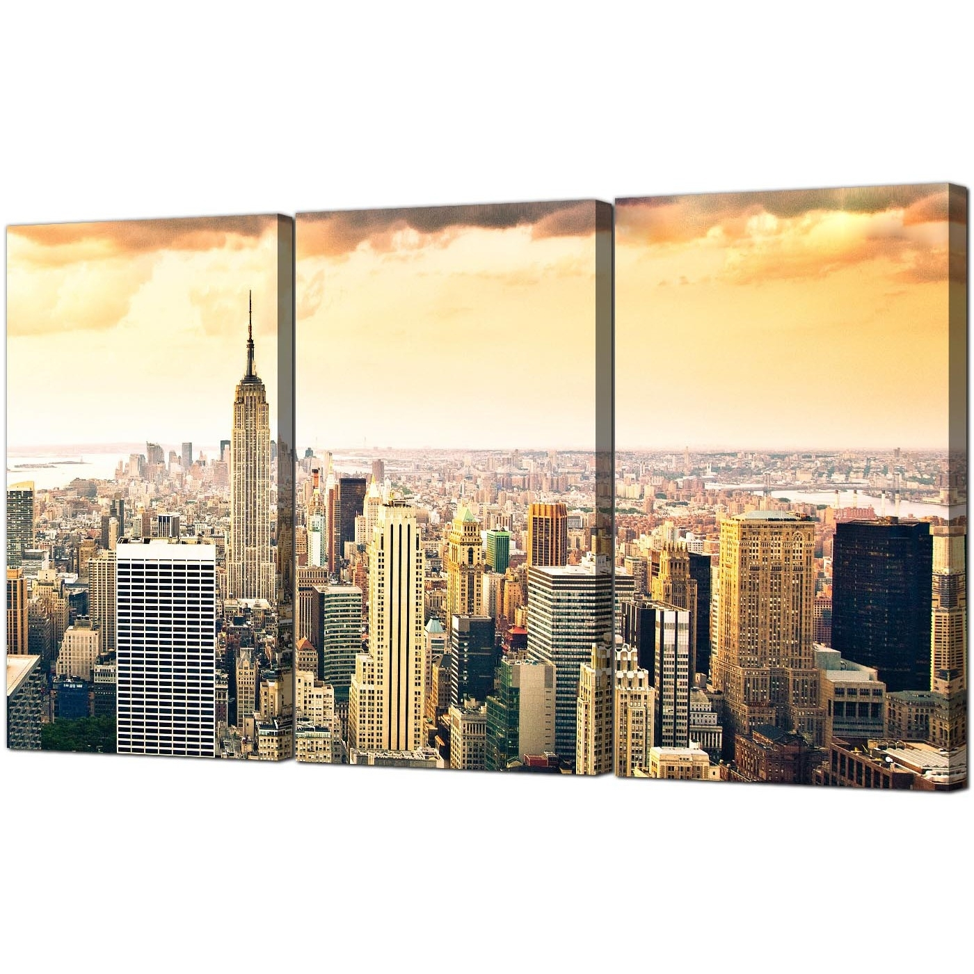New York City Canvas Wall Art Regarding Most Current Extra Large New York Skyline Canvas Pictures 3 Panel For Your Bedroom (View 10 of 15)