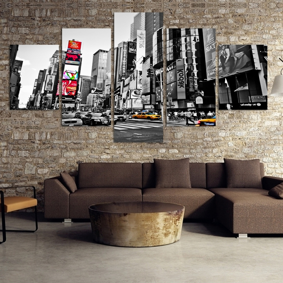 New York City Canvas Wall Art With Most Recently Released 2016 Hot Sales Without Frame 5 Panels Picture New York City Hd (View 11 of 15)