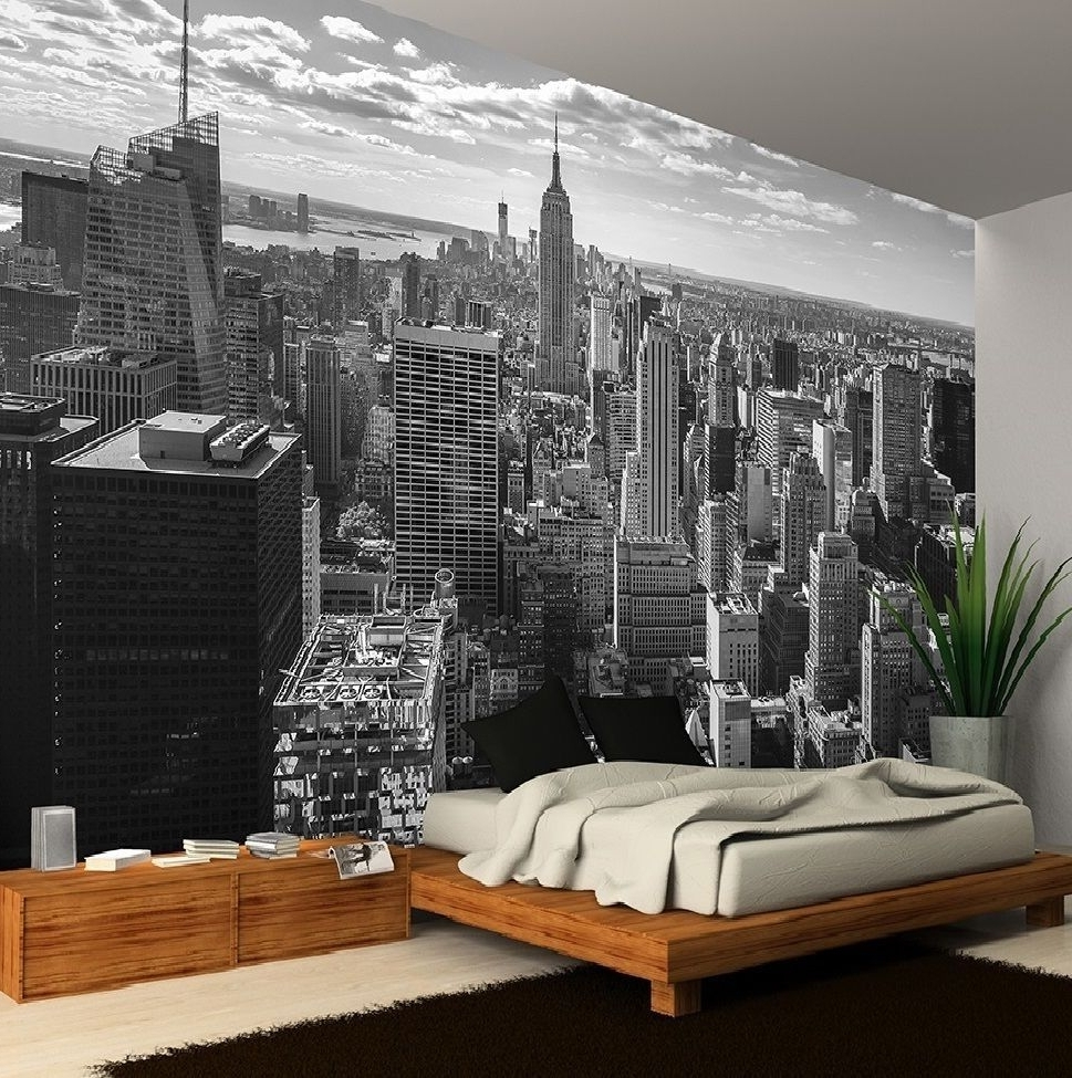 New York City Skyline Black&white Photo Wallpaper Wall Mural Intended For Most Current New York 3D Wall Art (View 13 of 15)