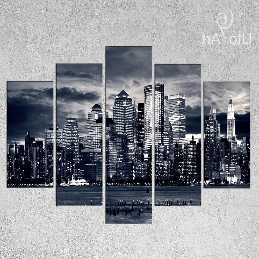 New York Skyline Canvas Black And White Wall Art Inside Recent Unstretched Modern Home Decor New York City Painting Black White (Gallery 2 of 15)