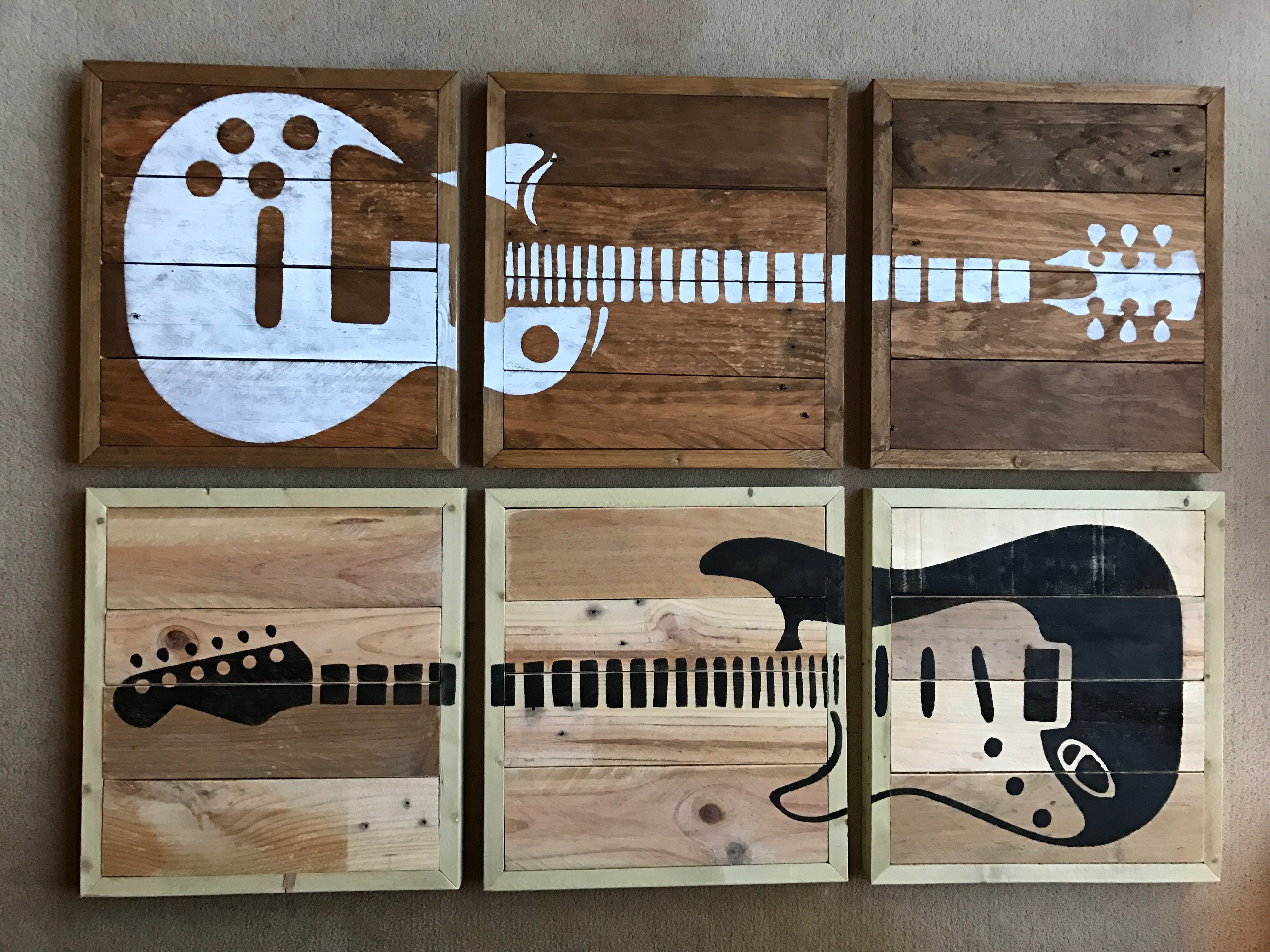 Newest 3 Piece Guitar Wall Art Hand Made From Rescued Wood (View 13 of 15)