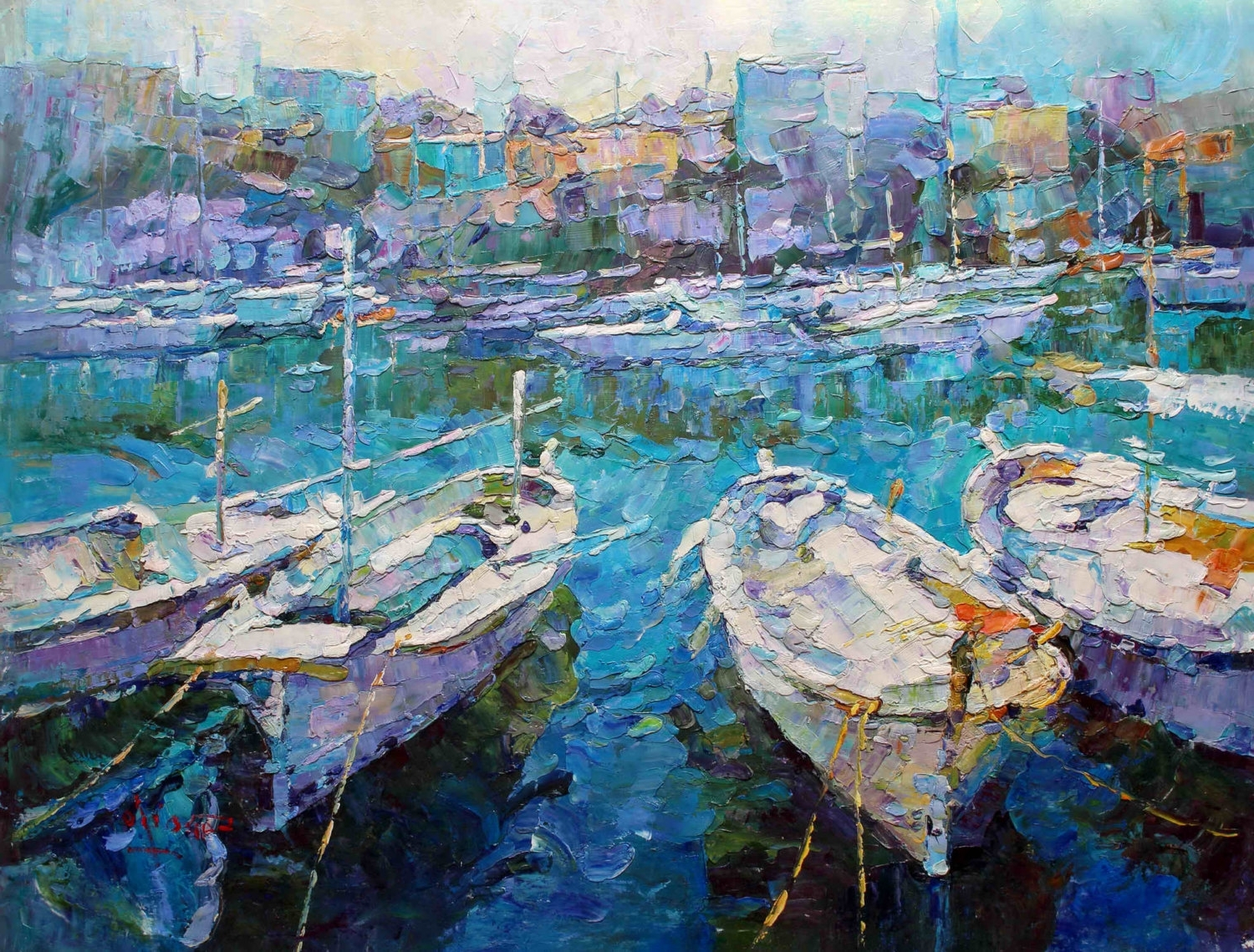 "Newest 36x48"" – Original Modern Italian Art Oil Painting – Boat In Harbor For Modern Italian Wall Art (View 7 of 15)"