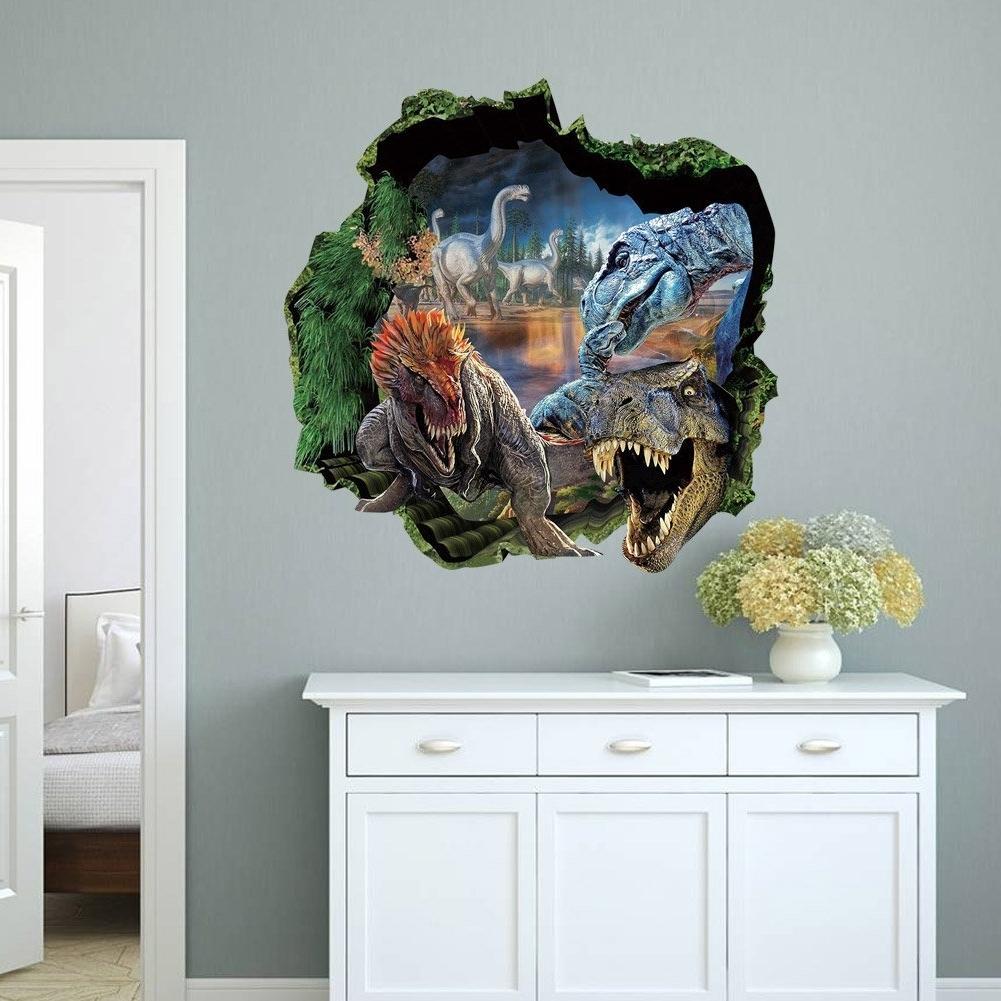 Newest 3D Dinosaur Wall Art Decor In Top Me 3D Dinosaurs Through The Wall Stickers Jurassic Park Home (View 12 of 15)