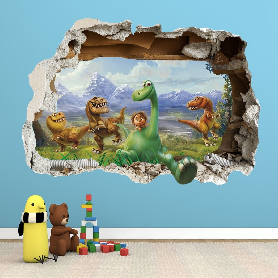 Newest 3D Dinosaur Wall Art Decor Pertaining To The Good Dinosaur Wall Sticker – 3D Smashed Bedroom Boys Girls (View 13 of 15)