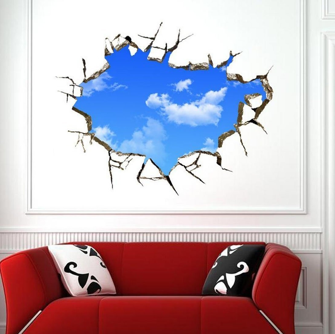 Newest 3D Wall Art For Bedrooms In Amazon: Sajanic 3D Blue Sky Wall Stickers For Ceiling Real (View 12 of 15)