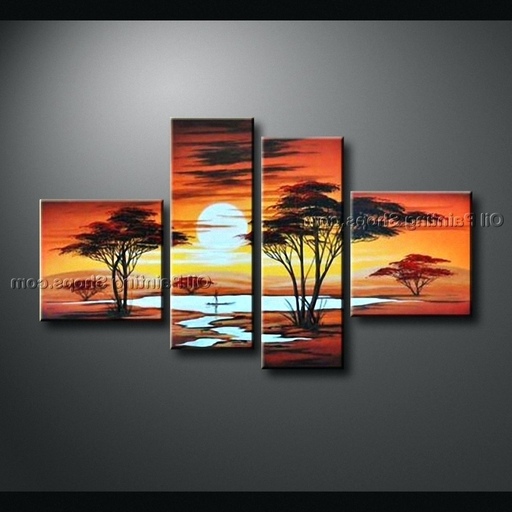Newest 4 Piece Canvas Art Sets With Regard To Wall Arts ~ Blossoming In The Moonlight 4 Piece Wall Art Canvas  (View 9 of 15)