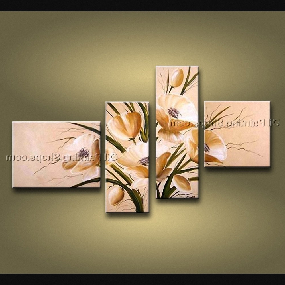 Newest 4 Piece Wall Art With Regard To Pieces Contemporary Wall Art Floral Painting Tulip Flower On Canvas (View 12 of 15)