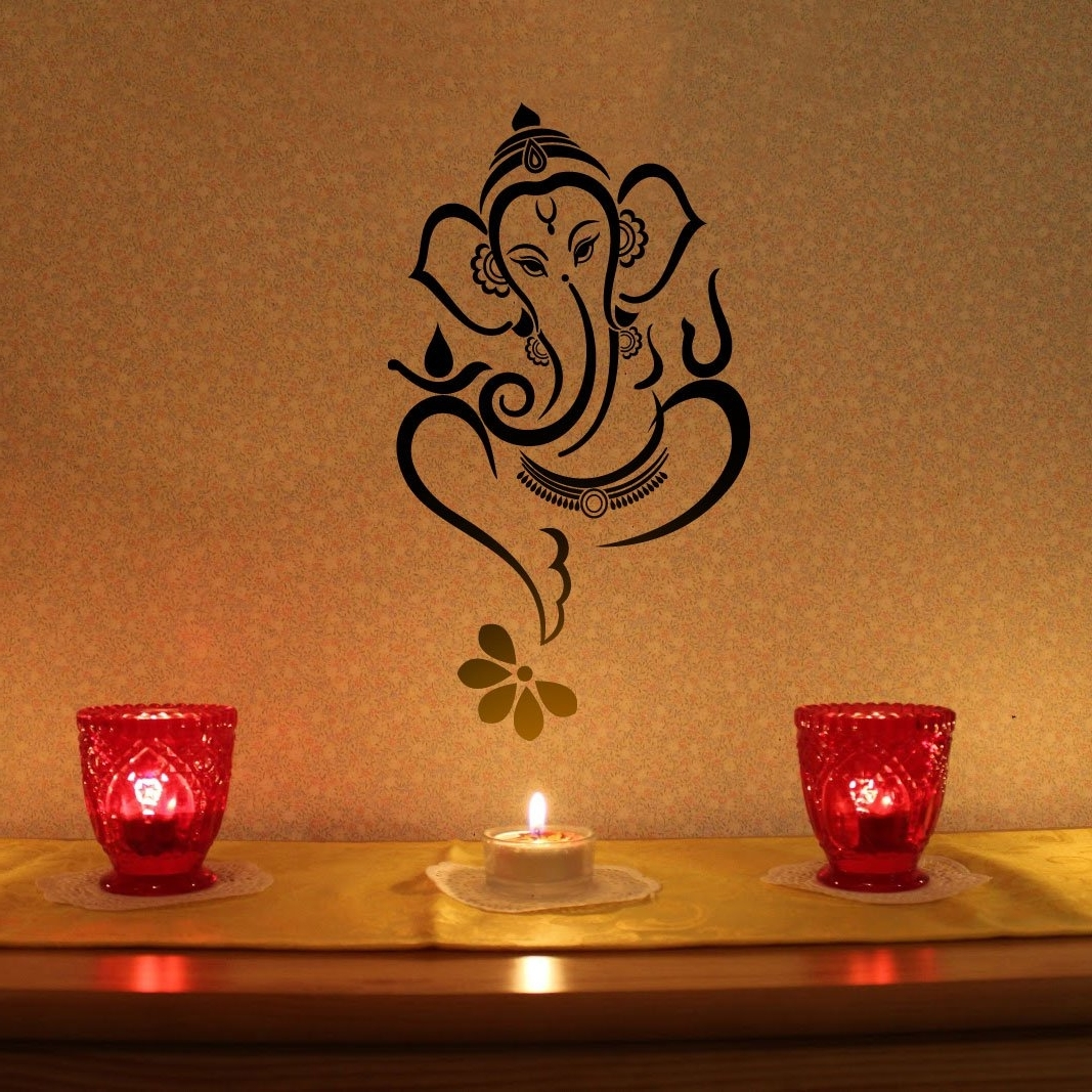 Newest Abstract Ganesha Wall Art Intended For Madewalldesign Floral Ganesha – Vinyl Wall Sticker (View 11 of 15)