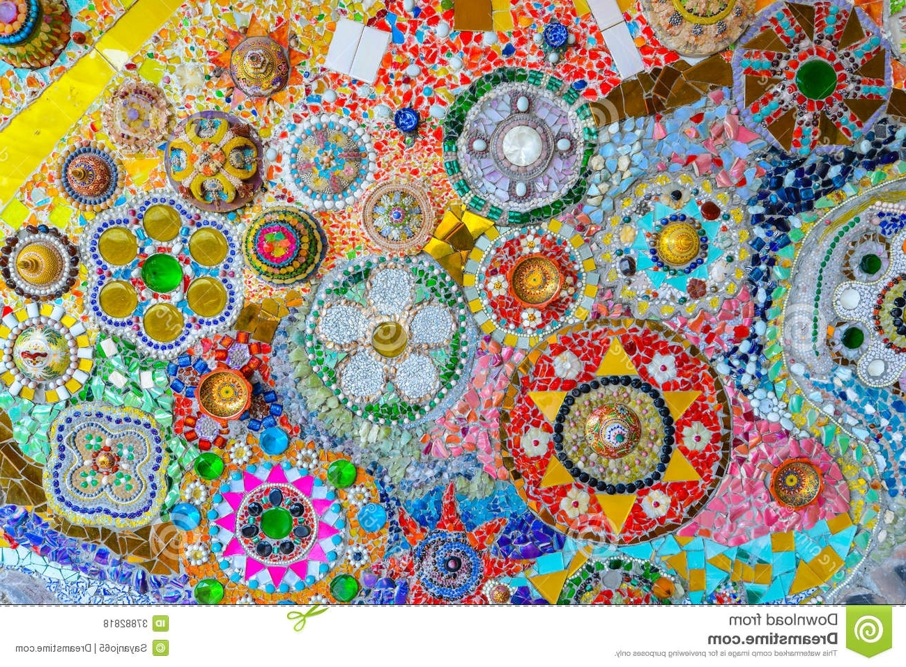 Newest Abstract Mosaic Art On Wall Intended For Colorful Mosaic Art And Abstract Wall Background. Stock Photo (Gallery 2 of 15)
