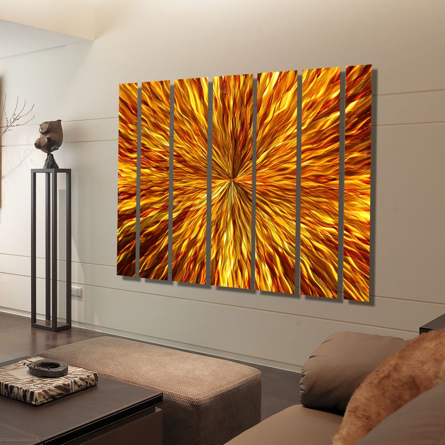 Newest Abstract Orange Wall Art Within Amber Vortex Xl – Extra Large Modern Metal Wall Artjon Allen (View 14 of 15)
