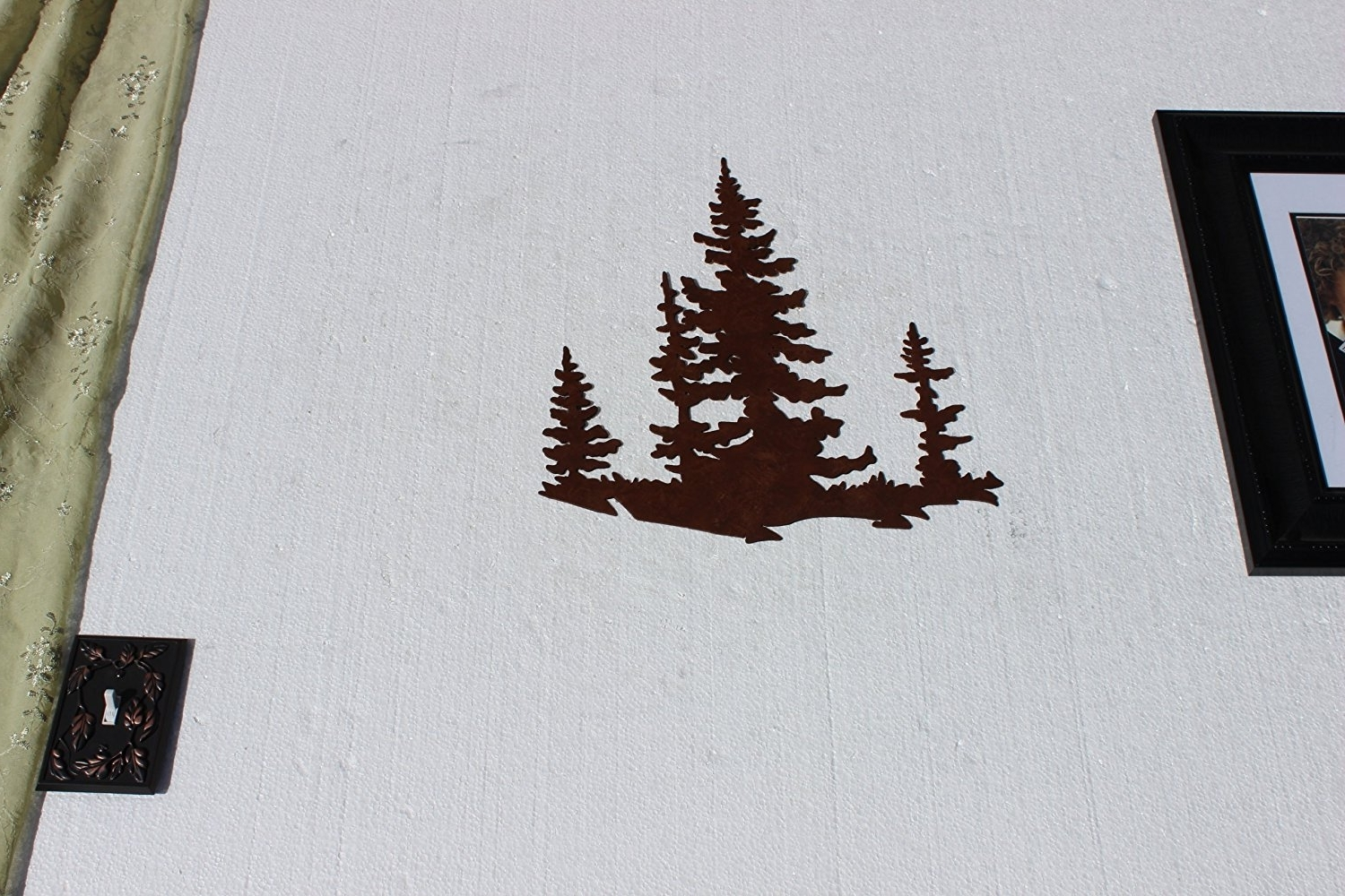 Newest Amazon: Pine Tree Scene Metal Wall Art Country Rustic Decor In Country Metal Wall Art (View 13 of 15)