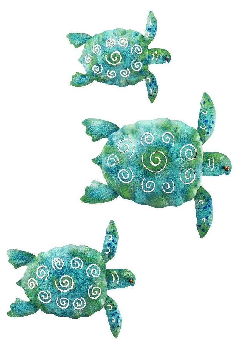 Newest Amazon : Regal Art And Gift Sea Turtle Wall Decor, Set Of 3 Pertaining To Sea Turtle Metal Wall Art (Gallery 8 of 15)