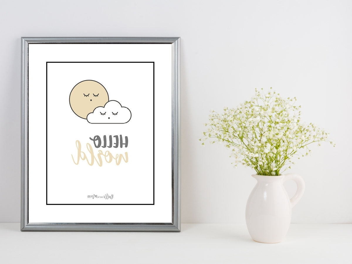 Newest Baby Wall Art Throughout Hello World' Wall Art Print & Mount – Neutral – Baby Chic Gift (View 11 of 15)