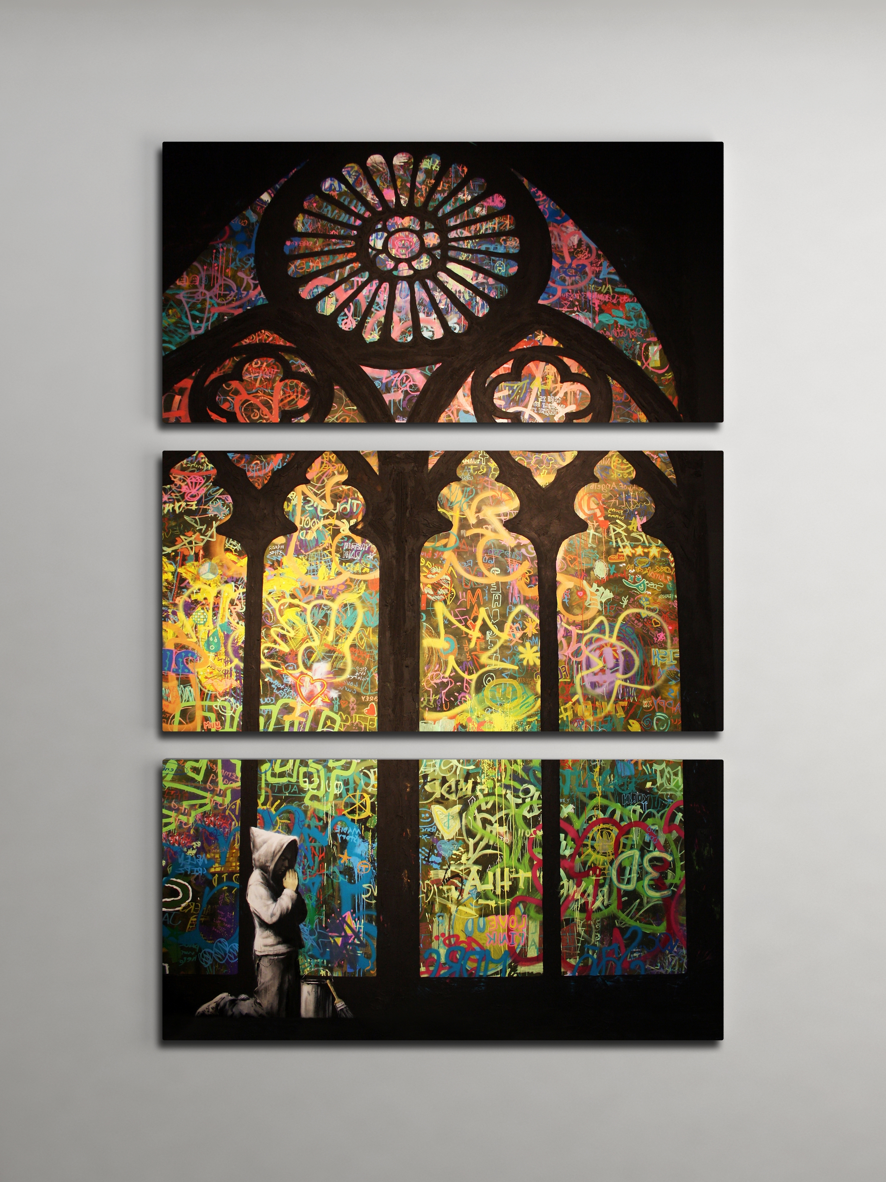 Newest Banksy Stained Glass Cathedral Triptych Canvas Wall Art Pertaining To 3D Glass Wall Art (View 10 of 15)