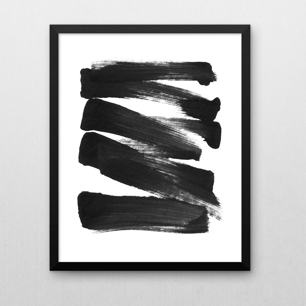 Newest Black And White Abstract Wall Art In Black & White Brush Stroke Art, Scandinavian Art, Contemporary Art (Gallery 1 of 15)