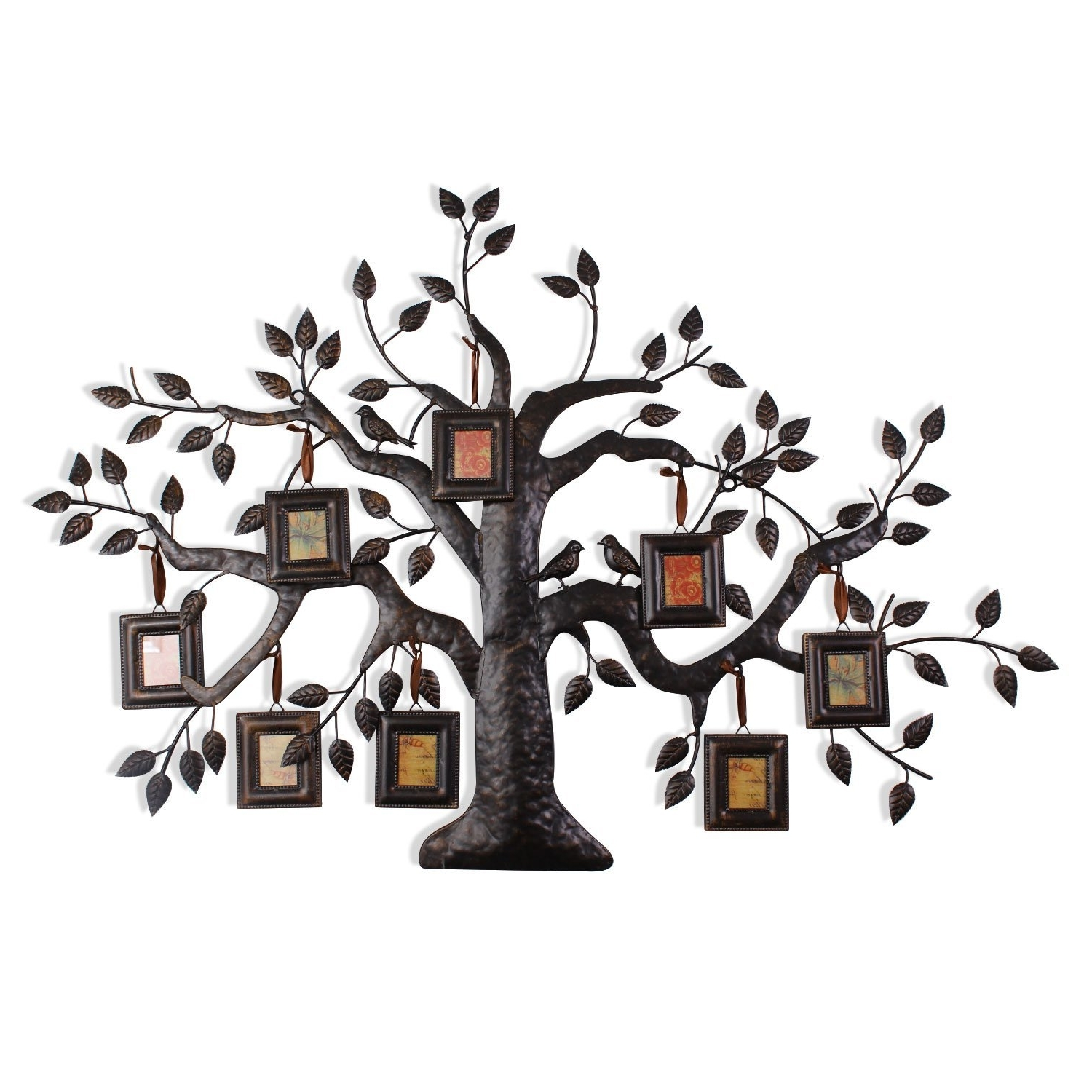Newest Bronze Tree Wall Art Pertaining To Adeco Brown Black Decorative Collage Family Tree Bronze Iron Metal (View 11 of 15)