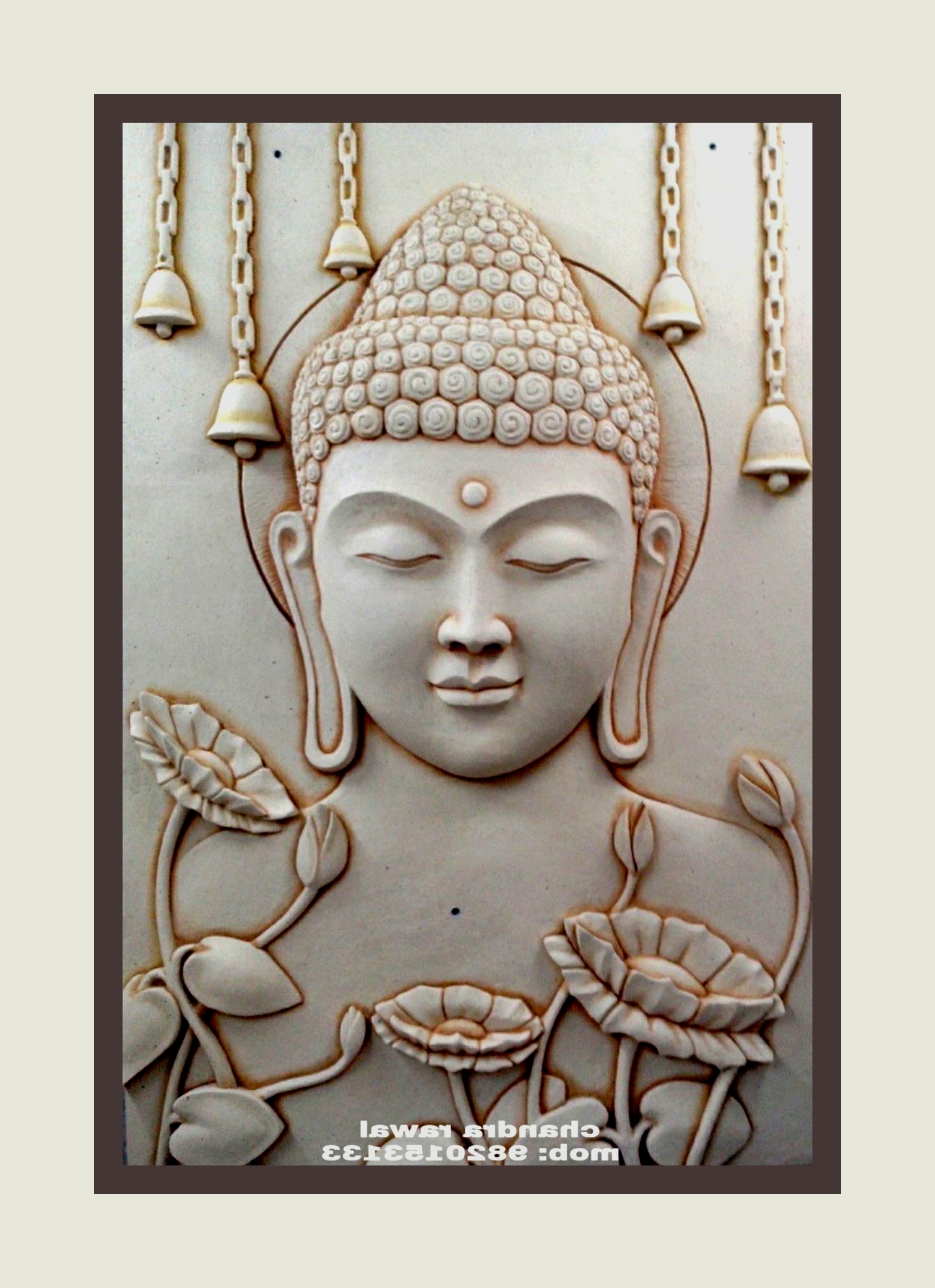 Newest Buddha,,, Hand Sculpted 3D Mural On Siporex (Gallery 1 of 15)