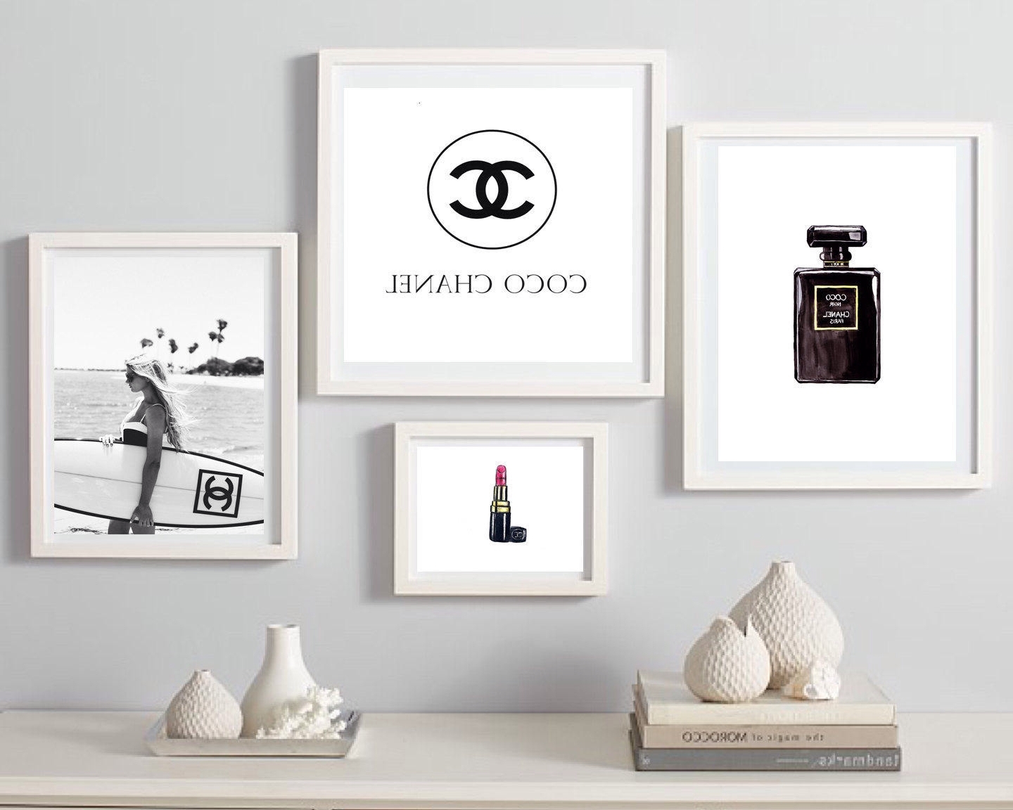 Newest Chanel Wall Decor Inside Coco Chanel Print, Fashion Wall Art, Set Of  4