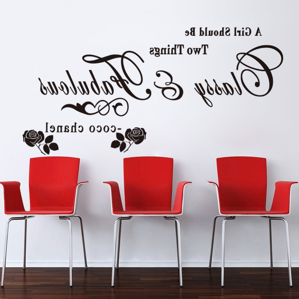 Newest Coco Chanel Wall Stickers Regarding Black Pink Quotes Wall Sticker Sayings & Pharase Wall Decal Diy (View 13 of 15)