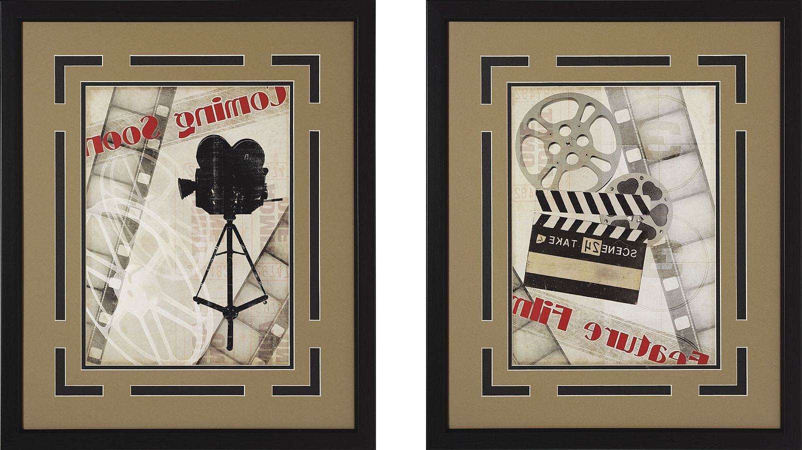 "Newest Coming Soon!"" And Movie Camera Framed Theater Wall Art Pair Intended For Movie Themed Wall Art (View 2 of 15)"