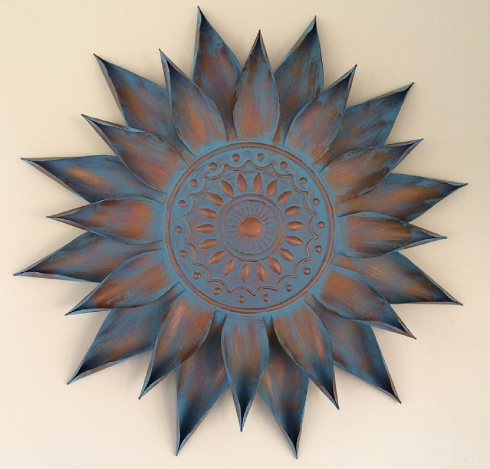 Newest Copper Outdoor Wall Art Intended For Copper Turquoise Giant Flower Bloom Wall Art Decor Metal Sun Burst (View 7 of 15)