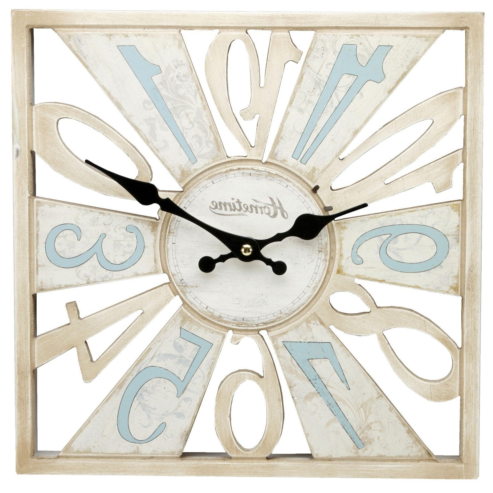 Newest Cut Out Wooden Wall Clock Duck Egg Blue & Cream Shabby Chic Wall With Duck Egg Blue Wall Art (View 12 of 15)