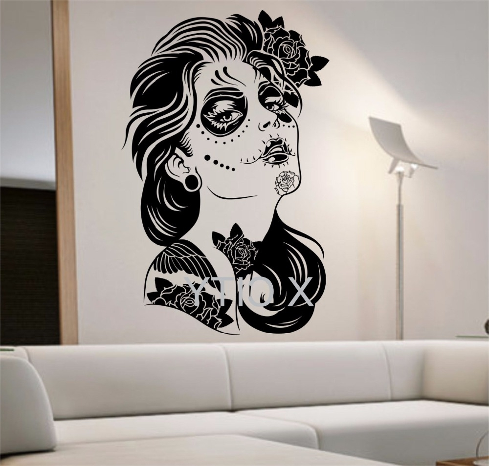 Newest Day Of The Dead Wall Decal Roses Girl Vinyl Sticker Art Decor Home Regarding Tattoo Wall Art (View 10 of 15)