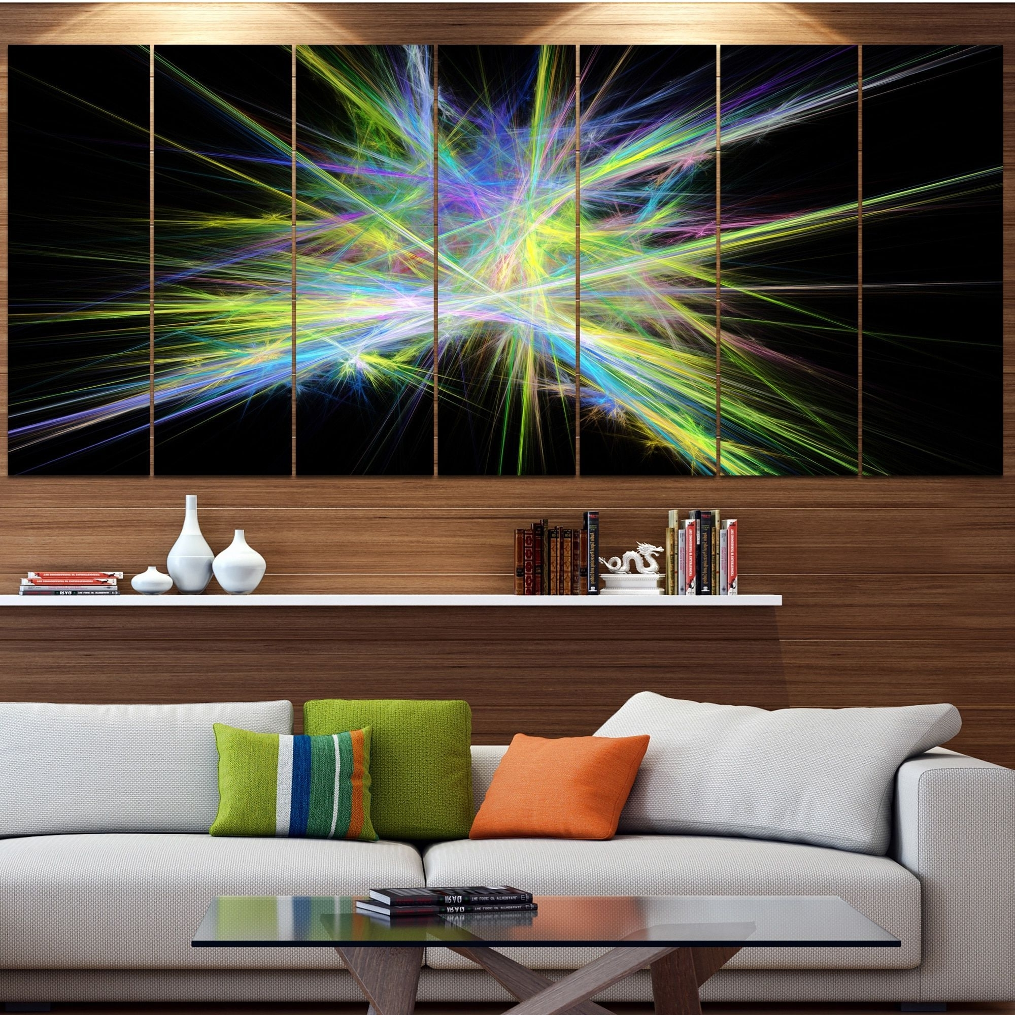 Newest Designart 'yellow Chaos Multicolored Rays' Abstract Canvas Wall Throughout Light Abstract Wall Art (Gallery 7 of 15)