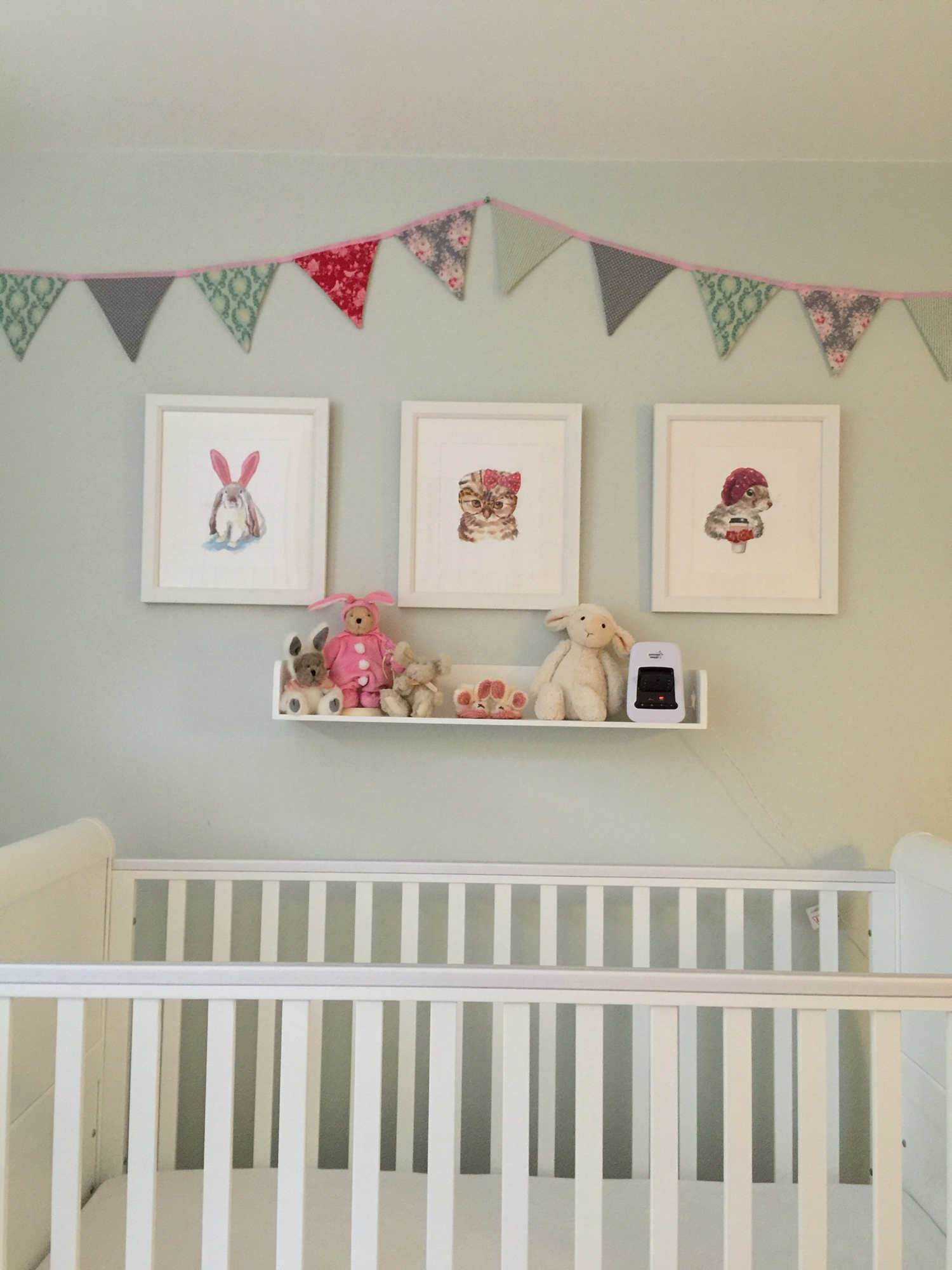 Newest Duck Egg Blue Wall Art Within Duck Egg Blue Nursery With Bright Pink Punting And Cute Animal (View 10 of 15)