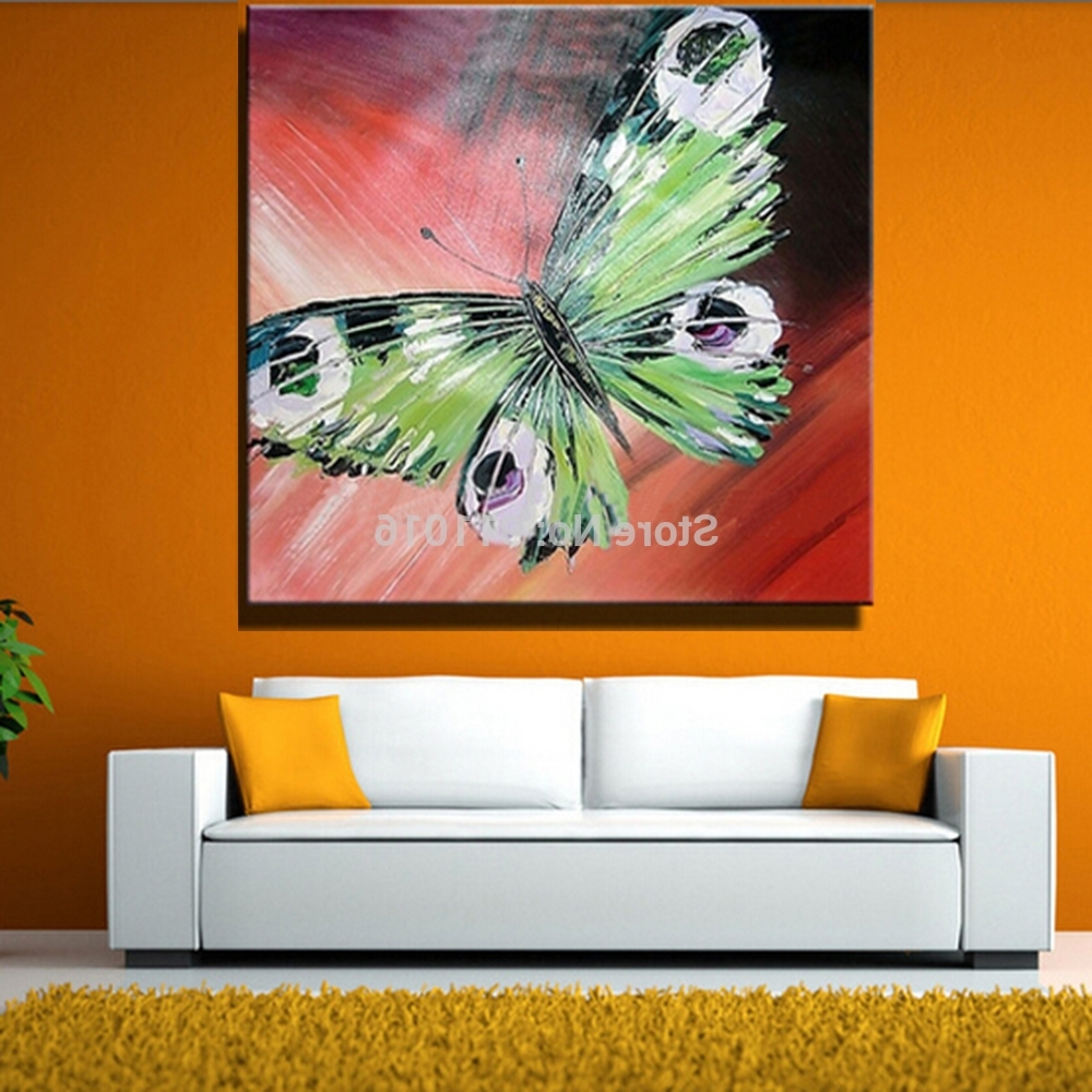 Newest Hand Painted Abstract Butterfly Picture Home Decor Knife Oil With Abstract Butterfly Wall Art (View 10 of 15)