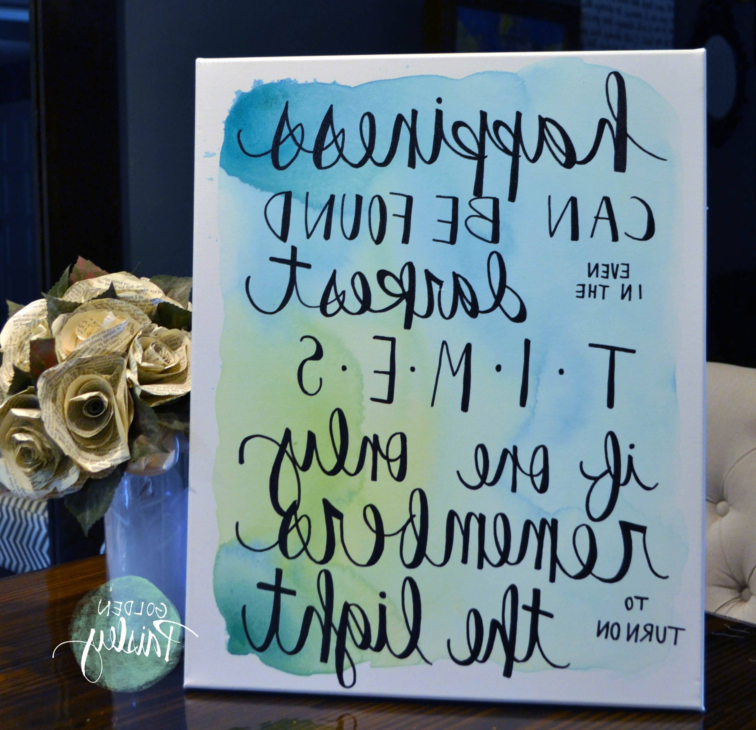 "Newest Happiness Watercolor Quote Wall Art ""the Light"" In Inspirational Quotes Canvas Wall Art (View 2 of 15)"