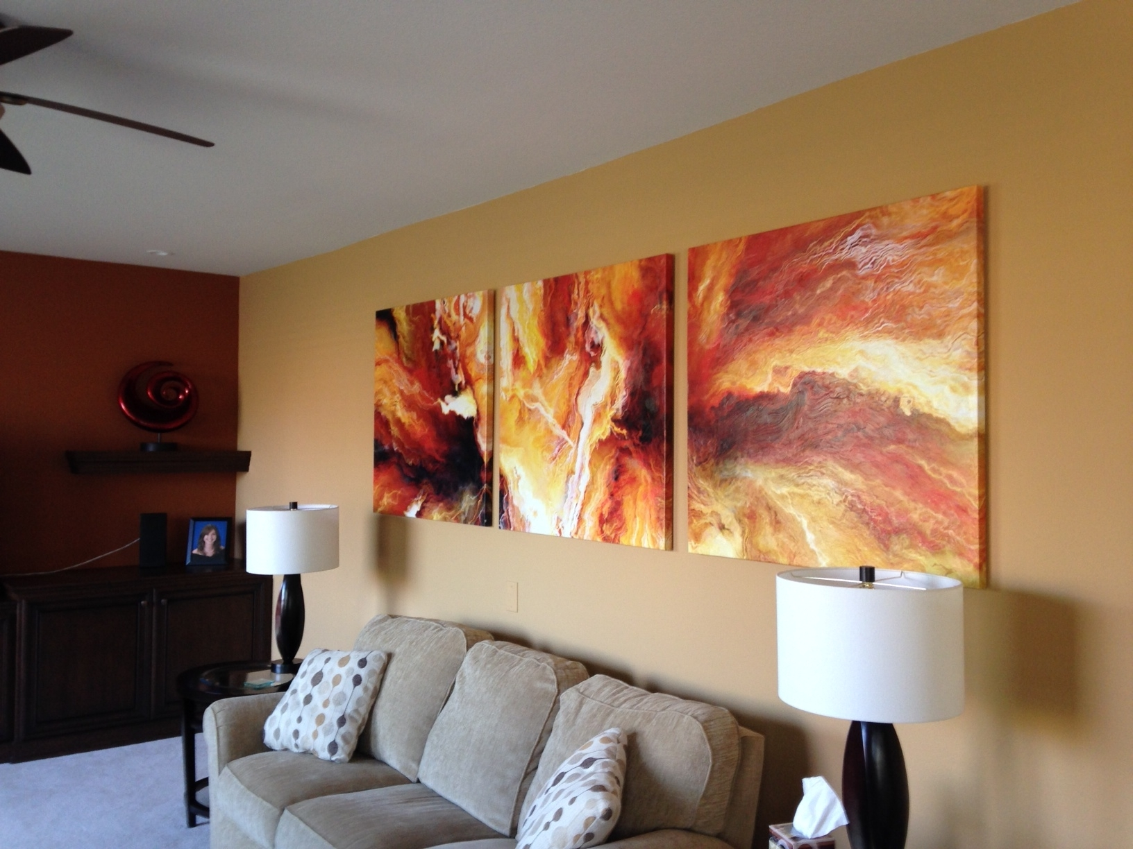 Newest Large Triptych Wall Art With Panel Large Abstract Painting Art Canvas Print Triptych Living Room (Gallery 1 of 15)